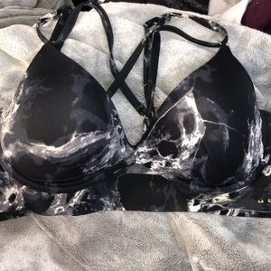 Pink marble sports bra